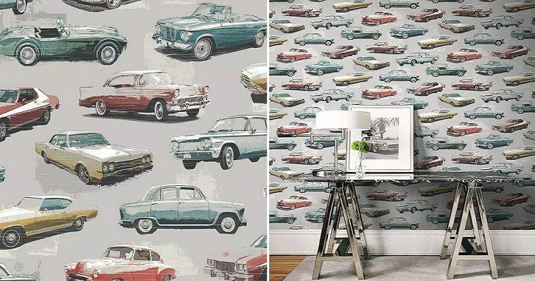Papel pintado coches retro - Catálogo Destination USA de Wallquest