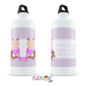 Botella Termo Personalizada Bebés Gemelas