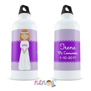 Botella Termo Personalizada Comunión Niña Fondo Morado
