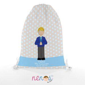Regalo Personalizado Bolsa de Piscina Niño Comunión Fondo Azul y Gris