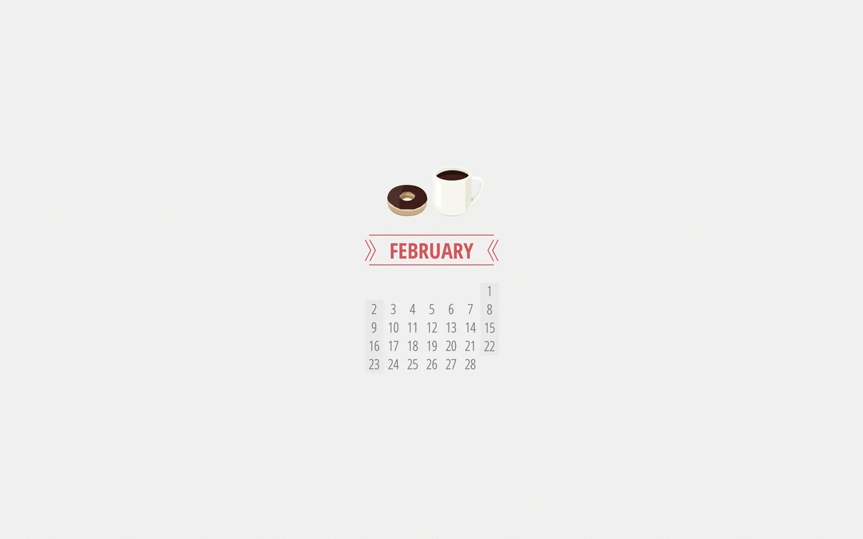 February Desktop And Mobile Calendar Wallpaper