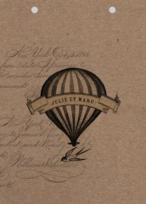 couverture personnsailsable en papier kraft du faire-part de mariage montgolfière