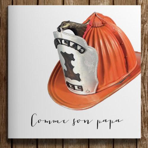 faire-part naissance theme pompier