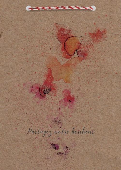 faire-part mariage en papier kraft theme nature et papillons