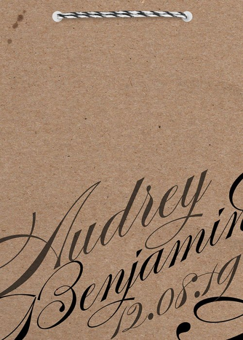 faire-part mariage kraft calligraphie en papier recyclé