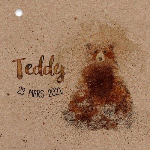 couverture faire-part naissance kraft teddy bear