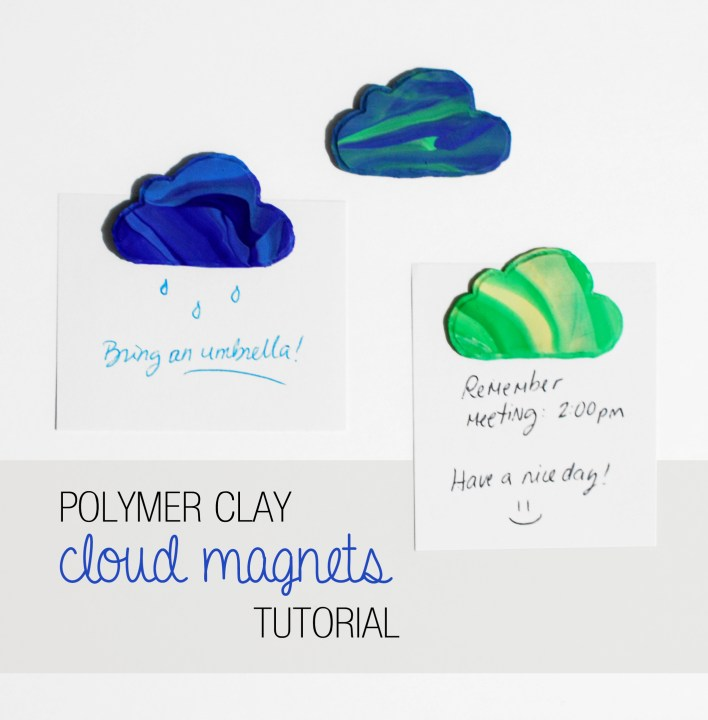 Polymer clay magnets – Cute clouds!