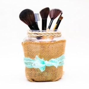 Rustic Burlap - Makeup Brush Holder