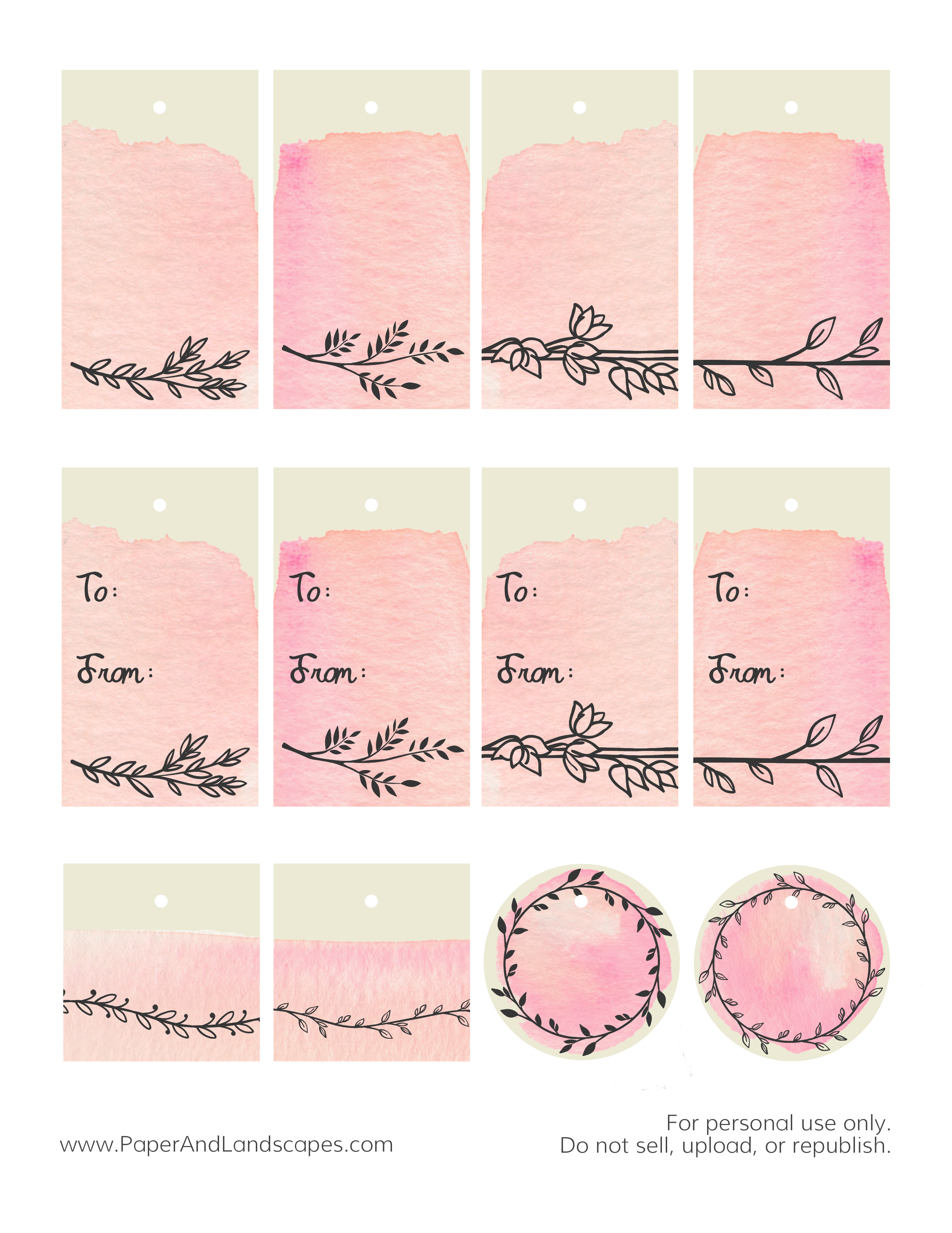 photograph regarding Printable Watercolor Paper named Free of charge Printables: Watercolor Reward Tags - Paper and Surroundings