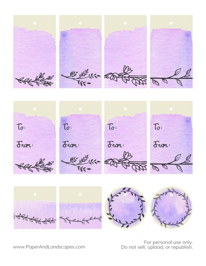 Watercolor Gift Tags -Purple- Paper and Landscapes