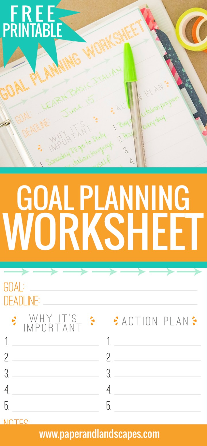 Goal Planning Worksheet - Pin