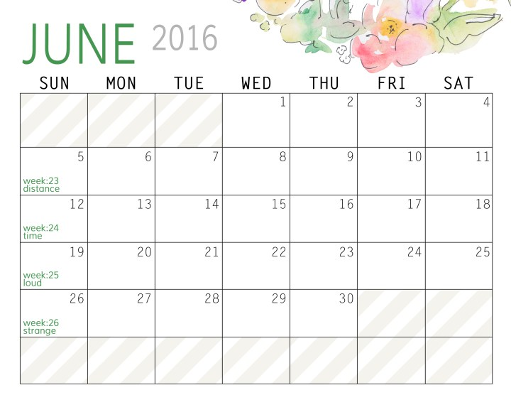 June 2016 Free Printable Calendar - Paper and Landscapes