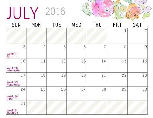 July - Calendars 2016 Landscape