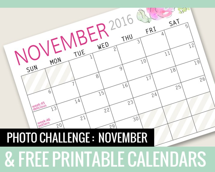 Photo Challenge for November and Free Printable Calendars