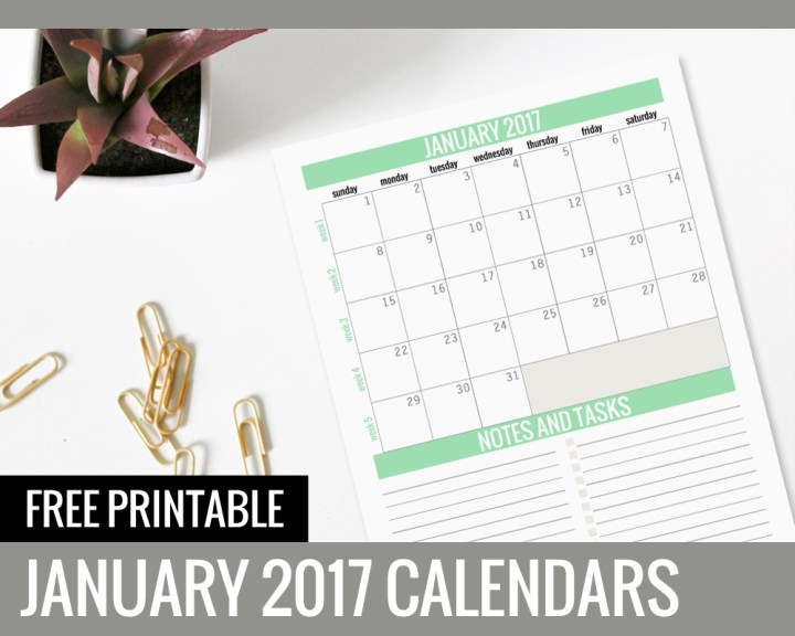 Free Printable Calendars 2017 - January - Paper and Landscapes