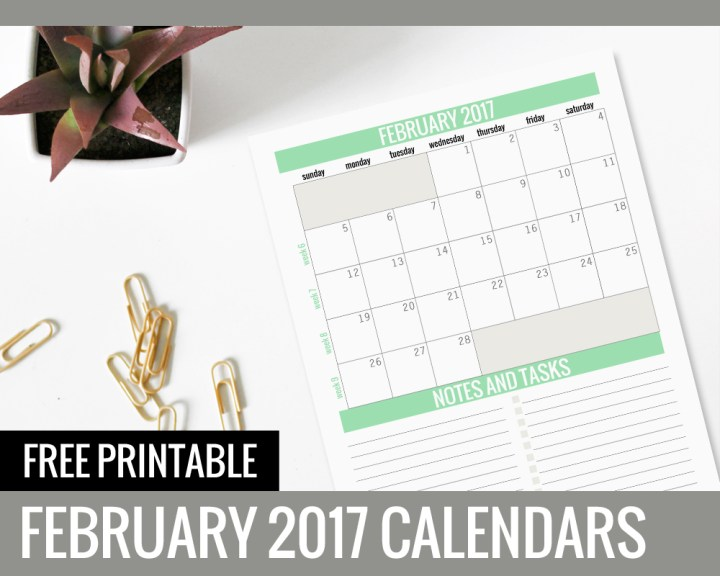 Free Printable Calendars 2017 - February - Paper and Landscapes