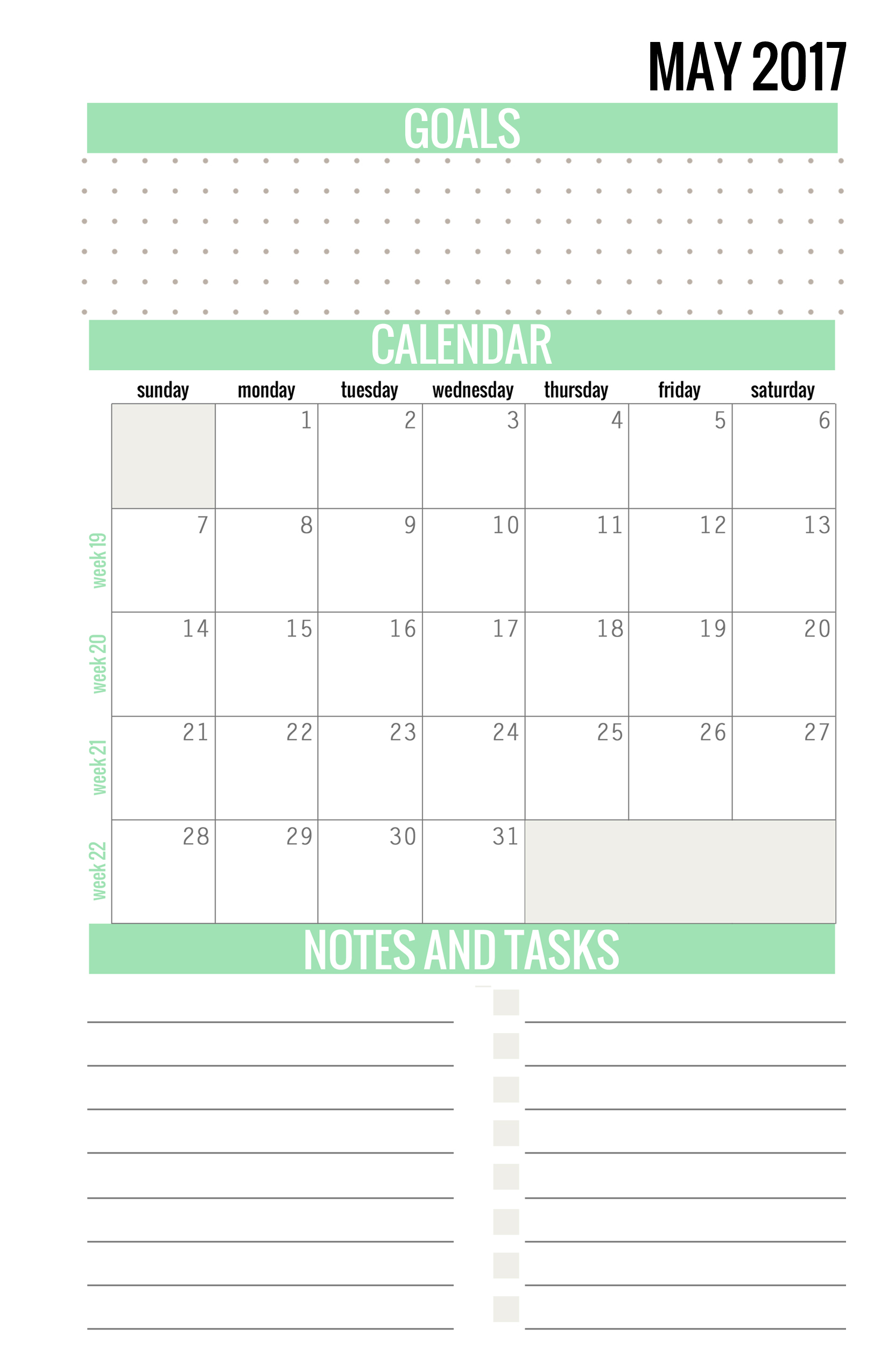 Printable Calendar May 2017 free printable calendars - may 2017 - paper and landscapes