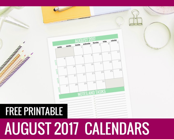 August Calendar 2017 - Paper and Landscapes