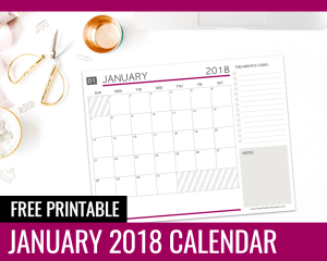 Free Printable Calendars January 2018 - Paper and Landscapes