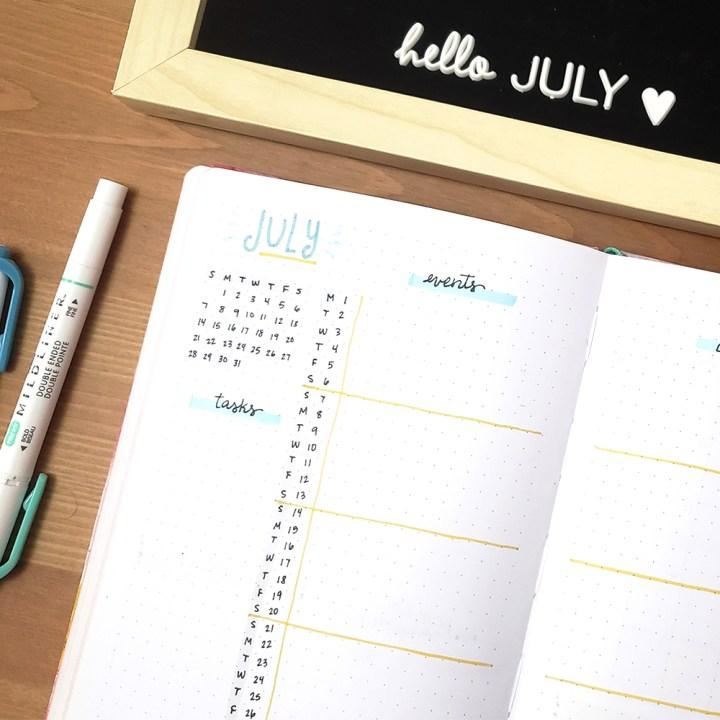 July Bullet Journal Planner Setup - Paper and Landscapes