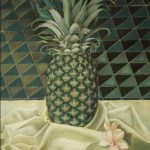 Pineapple hand painted on patterned background