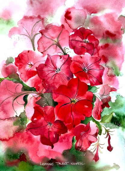 red petunia watercolour painting by Leanne Talbot Nowell