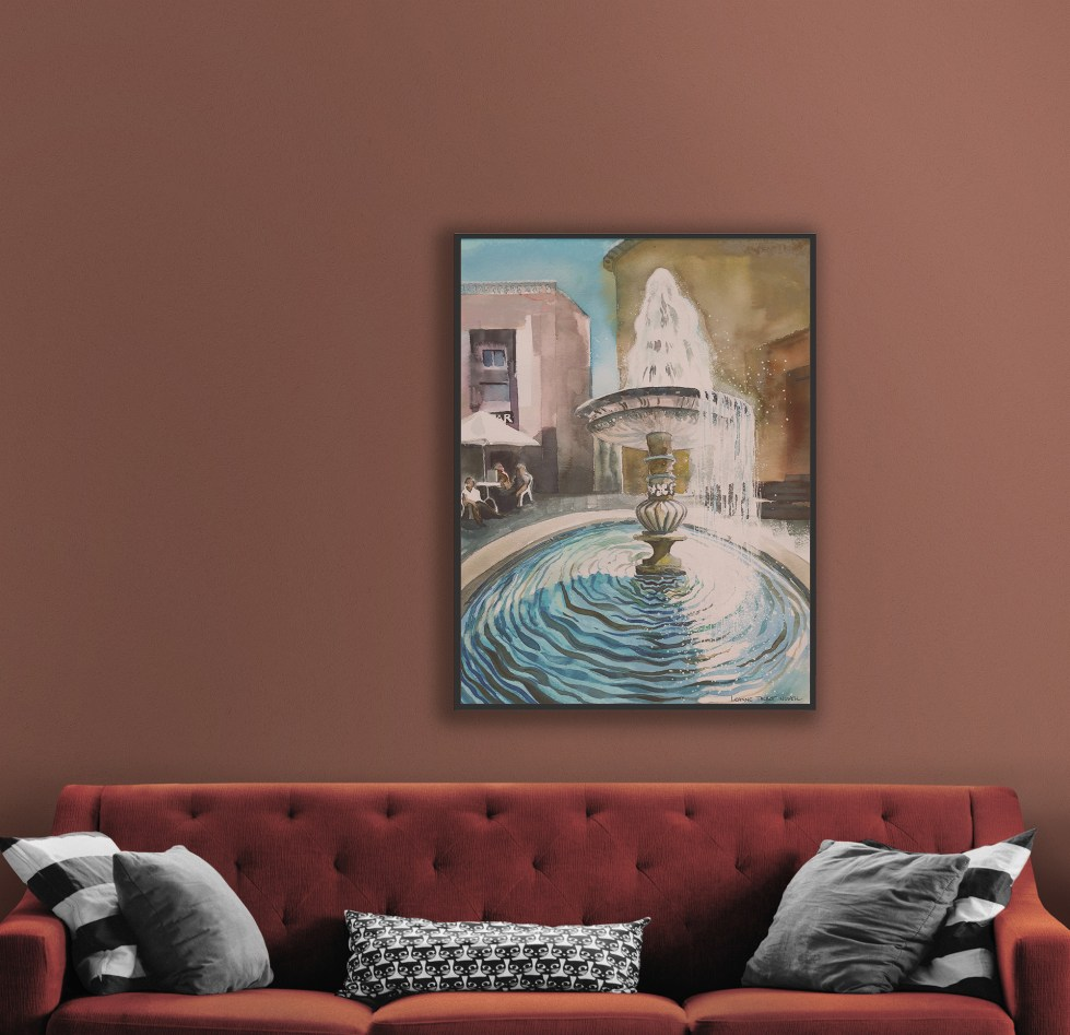 fountain Ariccia watercolour painting by Leanne Talbot Nowell