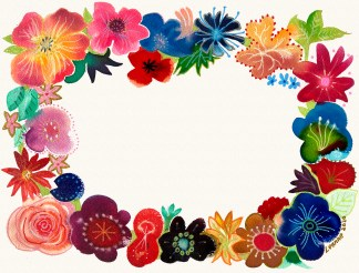 floral border frame for cards or photographs