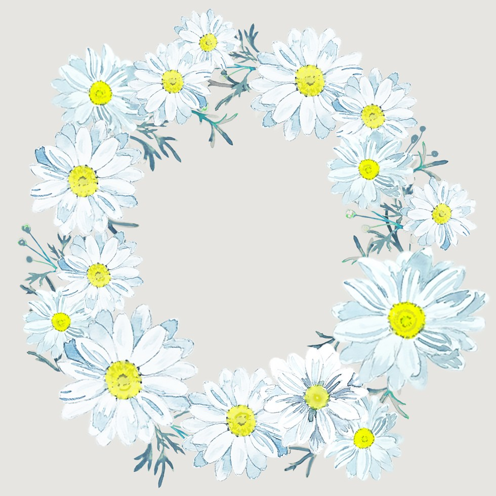 daisy wreath white and gray by paperbrush
