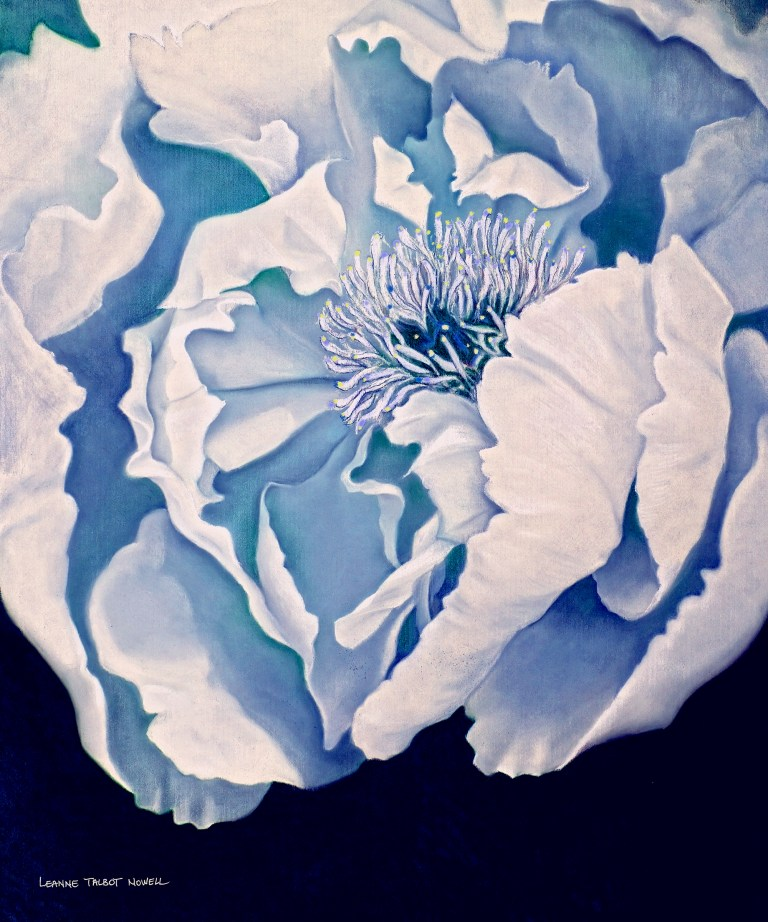 Blue peony pastel by Leanne Talbot Nowell