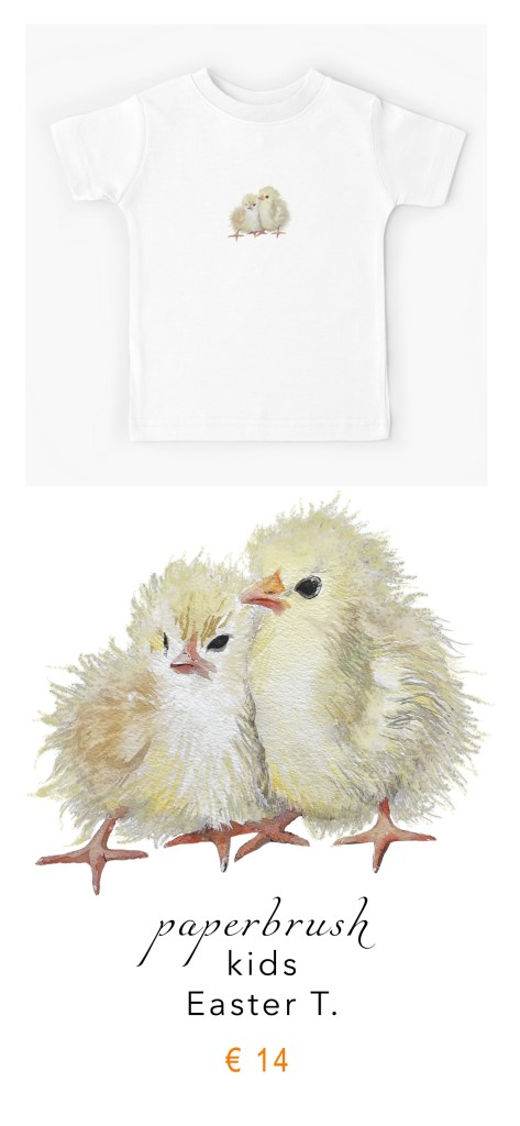 easter T for kids snuggling chicks by paperbrush