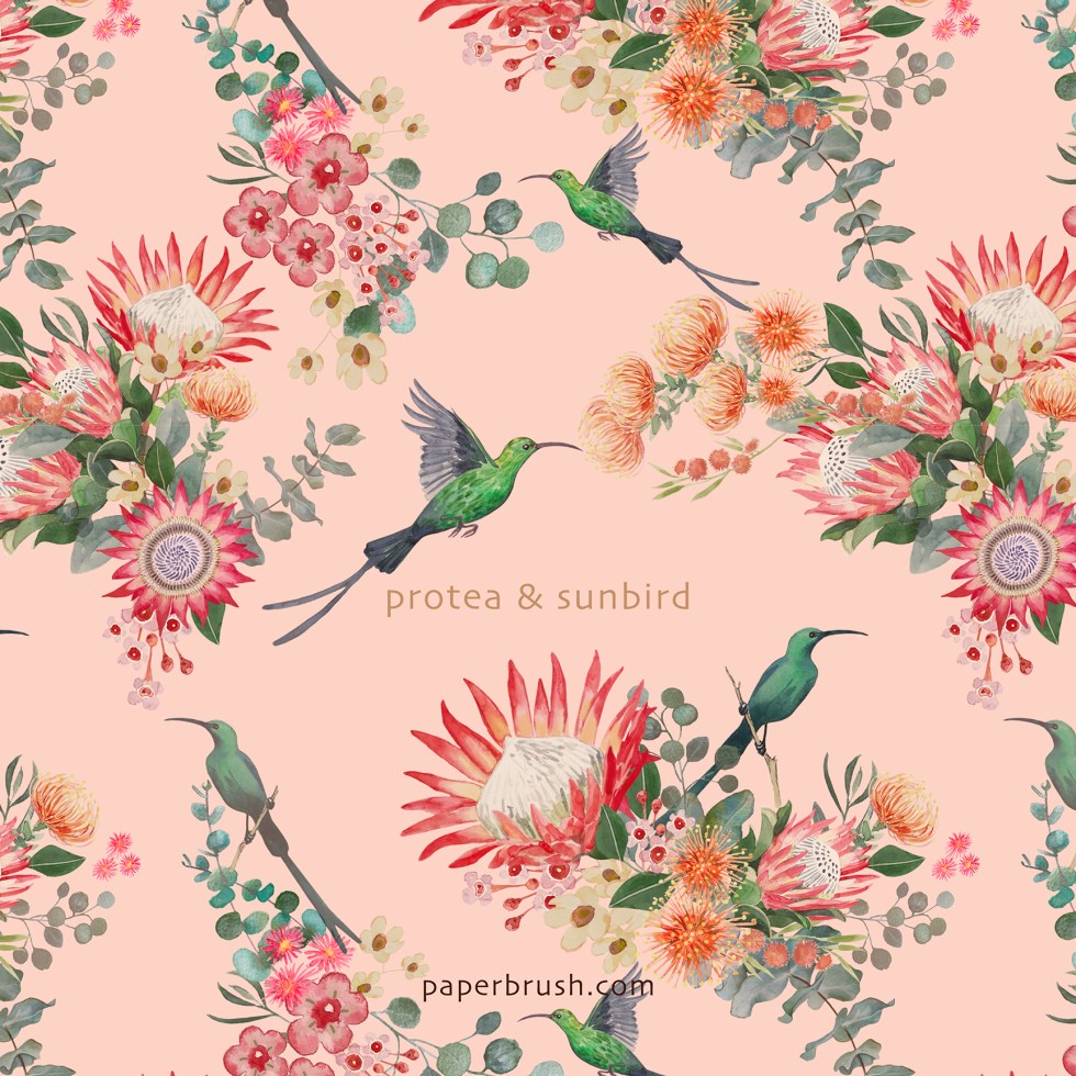 Protea and malachite sunbird pattern by Leanne Talbot Nowell