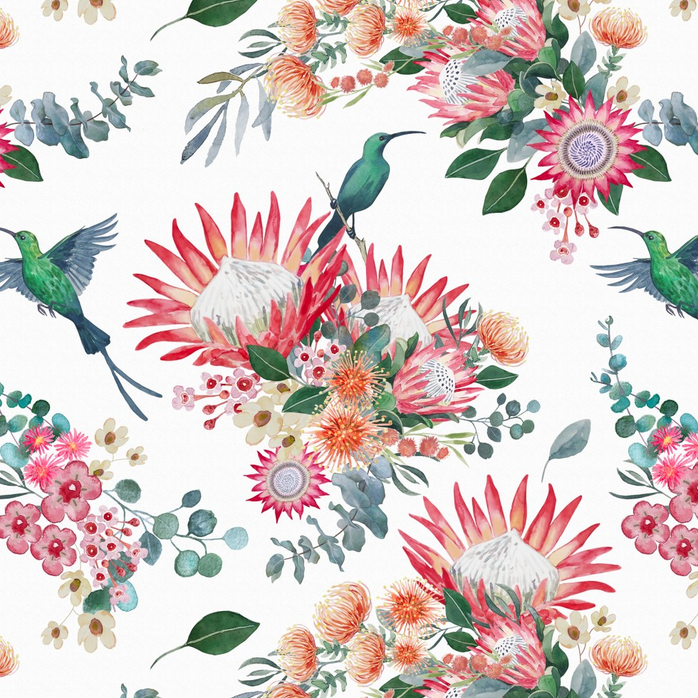 KING PROTEA AND BIRD surface pattern by Leanne Nowell