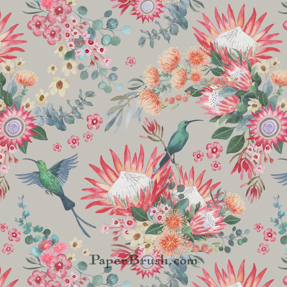 Hand painted protea floral design for fabric and wallpaper by Leanne Nowell