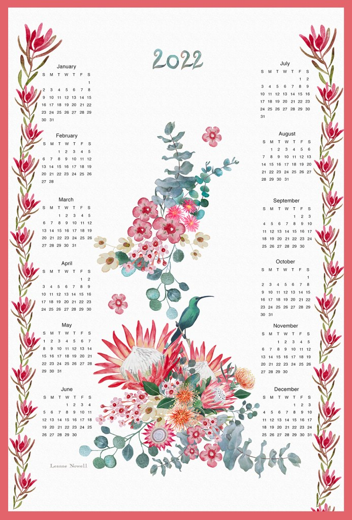 hand painted watercolor protea and sunbird calendar