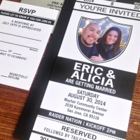 [save the date] football wedding tickets
