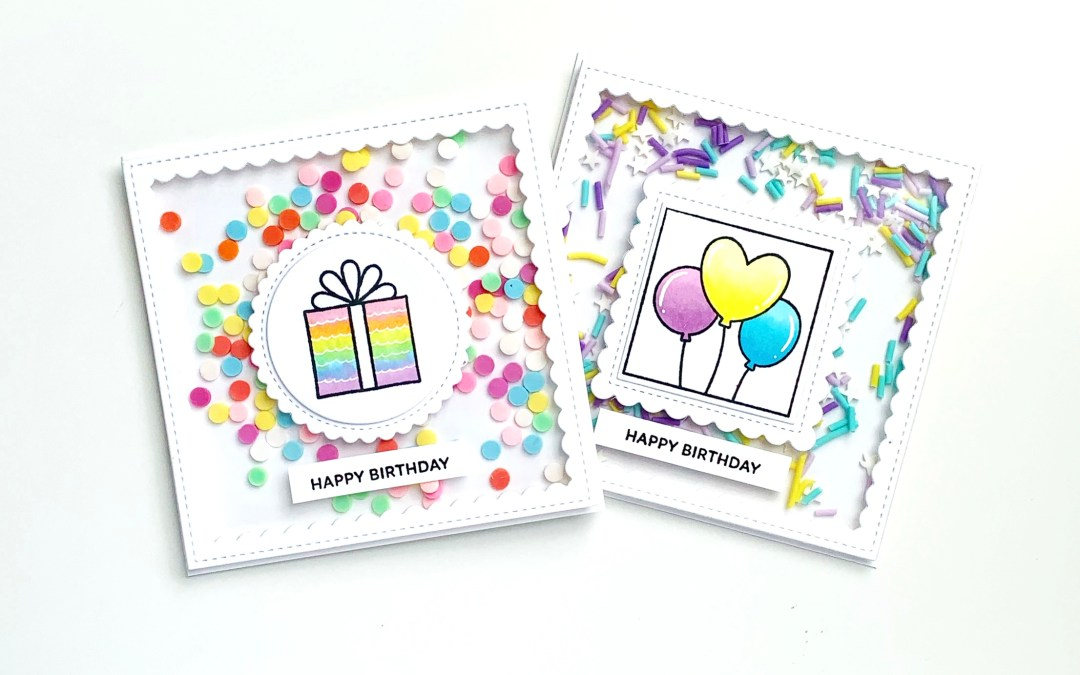 Birthday shaker cards with Pretty Pink Posh!