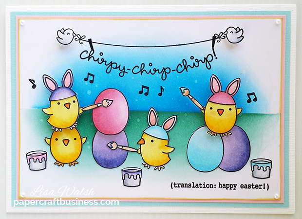Lawn Fawn Chirpy Chirp Chirp Card - Get the list of supplies I used @ papercraftbusiness.com - Created by Lisa Walsh