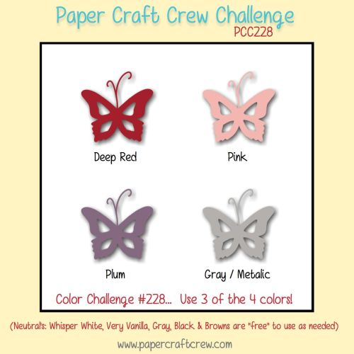 Play along with the Paper Craft Crew Color Challenge 228! Create a card, scrapbook page, or 3D Paper Craft Project inspired by this weeks challenge. We welcome and encourage you to use ANY brand of Paper Crafting products. #pcc2017 #papercraft #colorchallenge #playalong www.papercraftcrew.com