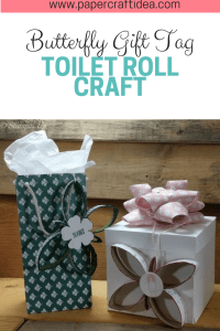 toilet roll craft, DIY, butterfly, tag