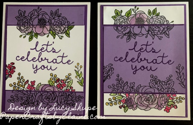 Bloom & Grow Bundle Stampin' Up, Bloom and Grow bundle, Highland Heather, purple, handmade cards, greeting cards, all occasion cards, Birthday cards, Let's celebrate cards, Fancy cut cards, Make 2 cards from one,  #simplestamping, #PaperCraftsbyElaine.com, Paper Crafts,