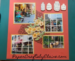 Mosaic handmade scrapbook,  scrapbook page layout, mosaic scrapbooking pages for beginners, learning to do mosaic layouts, Layouts using mosaic tiles, scrapbook layout and tutorials, video, mosaic video,