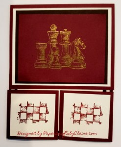 Game on stamp set, greeting cards for men, handmade greeting cards, PaperCraftsbyElaine.com, Heat embossing, fancy fold, gate fold card, cards for men, Chess pieces on cards,