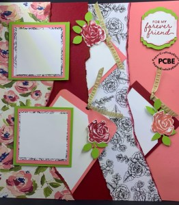 double scrapbook layout, tear up scrapbook layouts, 12x12 layout, scrapbook pocket pages, scrapbook pages with pockets,  Brushed Bloom scrapbook pages, Double layout with pockets,
