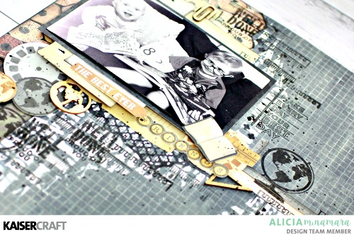 Kaisercraft Documented Layout by Alicia McNamara with Layered Textures