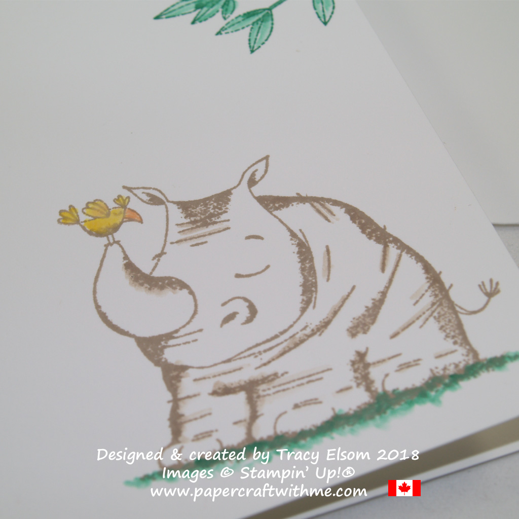 Close up of a notecard featuring a rhino from the Animal Outing Stamp Set from Stampin' Up!
