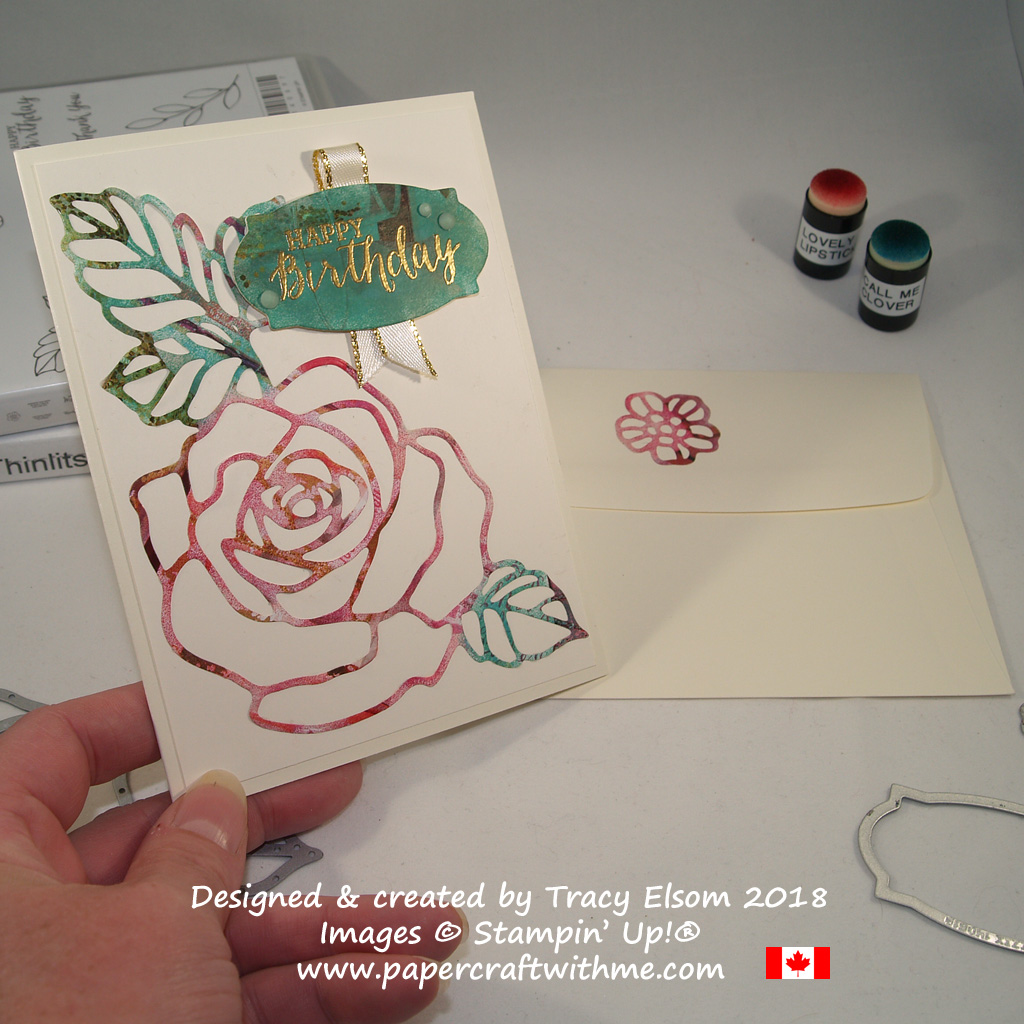 Birthday card created using the Rose Wonder Stamp Set and coordinating Rose Garden Thinlits Dies from Stampin' Up! with the magazine technique.