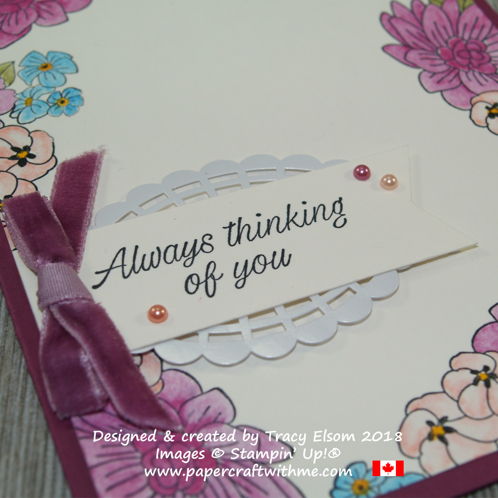 Close up of focal point on a thinking of you card created using the Accented blooms Stamp Set from Stampin' Up!