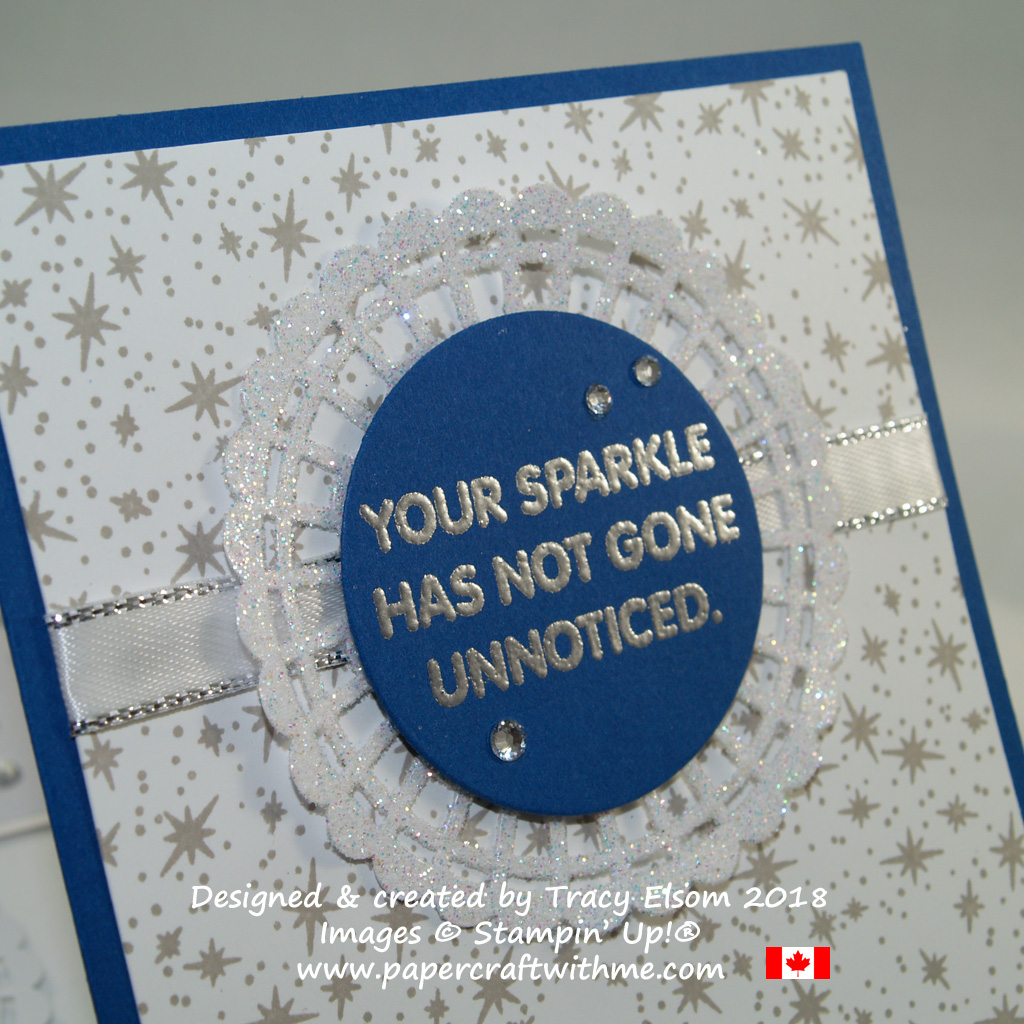 Close up of blue and grey card with 'your sparkle has not gone unnoticed' sentiment from the Letter Board Messages Stamp Set from Stampin' Up!