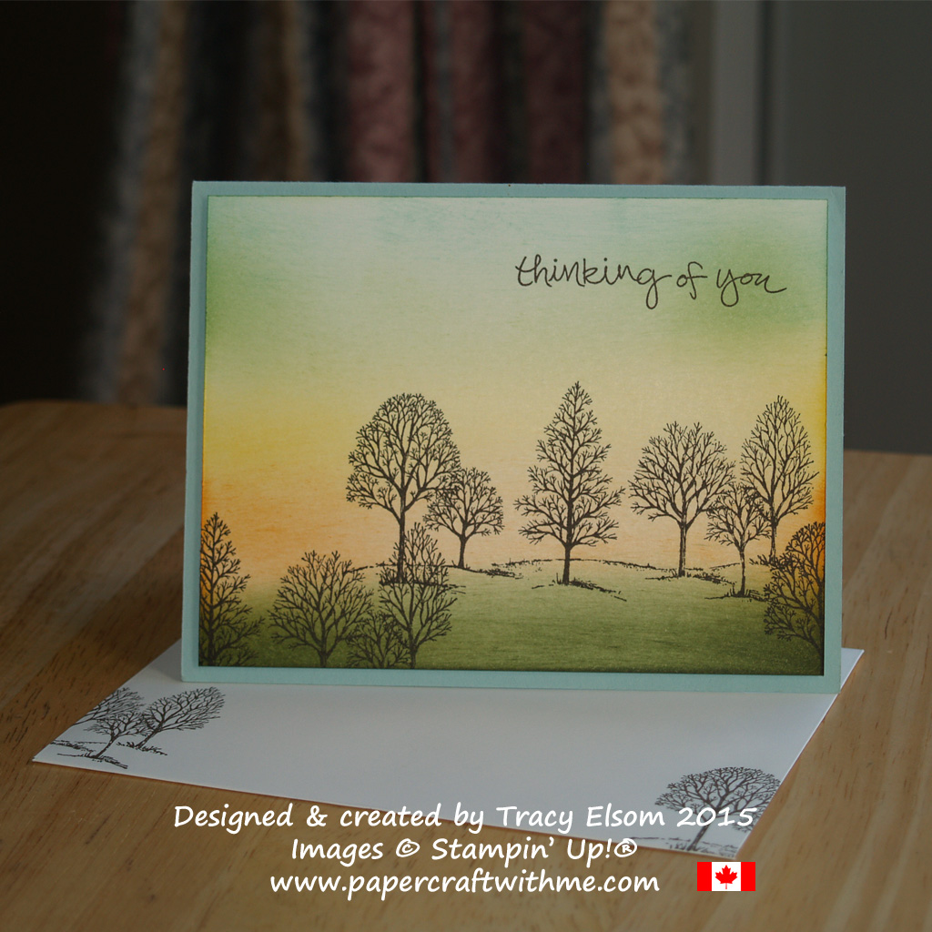 Thinking of you card with a sponged sunset sky and bare trees image from the Lovely As A Tree Stamp Set from Stampin' Up!
